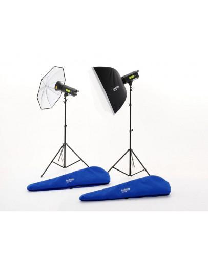 Комплект Lumen8 F400 + 2 стійки, 1 парасольку і 1 софтбокс UK